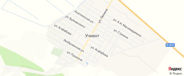 Карта села Учкента в Дагестане с улицами и номерами домов
