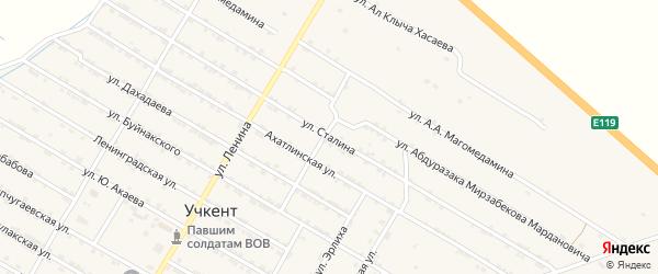 Улица Иосифа Виссарионовича Сталина на карте села Учкента Дагестана с номерами домов