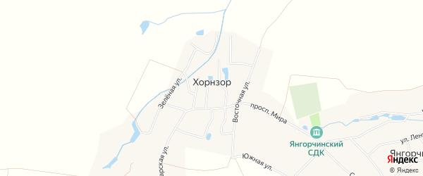 Карта деревни Хорнзор в Чувашии с улицами и номерами домов