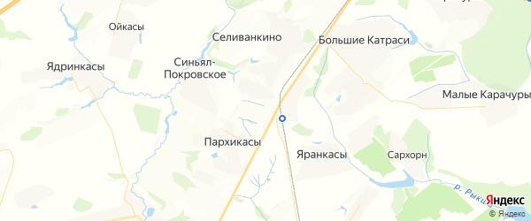 Карта Синьяла-Покровского сельского поселения Республики Чувашии с районами, улицами и номерами домов