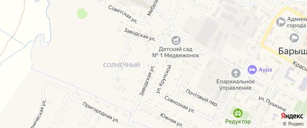 Заводская улица на карте Барыша с номерами домов