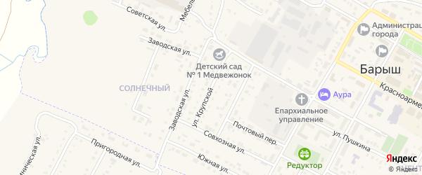 Улица Крупской на карте Барыша с номерами домов
