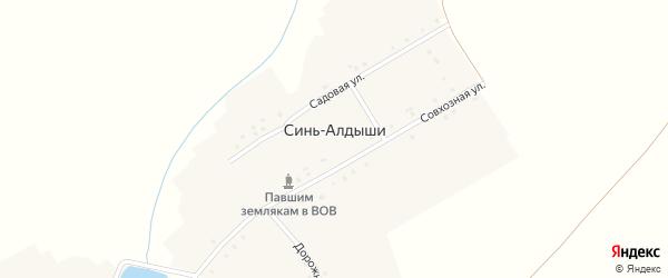 Совхозная улица на карте деревни Сини-Алдыши Чувашии с номерами домов