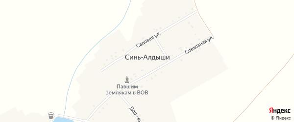 Дорожная улица на карте деревни Сини-Алдыши с номерами домов