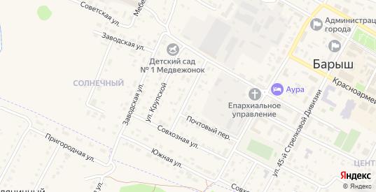 Мелиоративная улица в Барыше с номерами домов на карте. Спутник и схема онлайн
