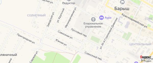 Почтовый переулок на карте Барыша с номерами домов