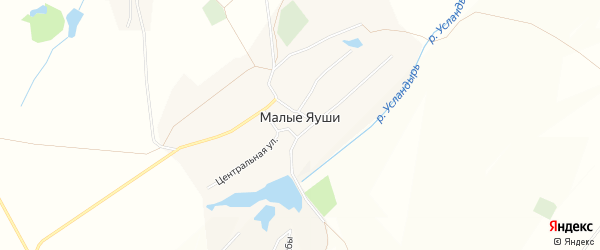 Карта села Малые Яуши в Чувашии с улицами и номерами домов