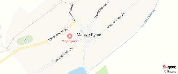 Зеленая улица на карте села Малые Яуши с номерами домов