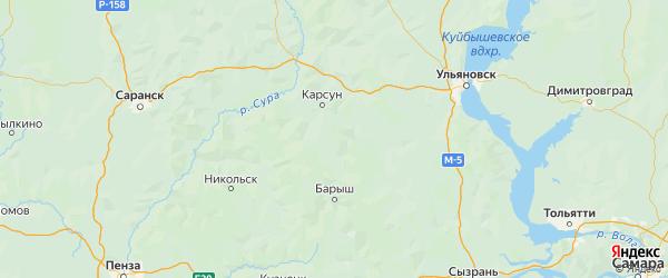 Карта Вешкаймского района Ульяновской области с городами и населенными пунктами