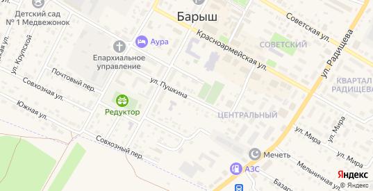 Улица Пушкина в Барыше с номерами домов на карте. Спутник и схема онлайн