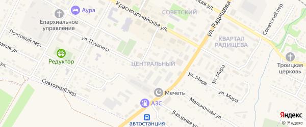Центральный микрорайон на карте Барыша с номерами домов