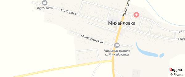 Молодежная улица на карте села Михайловки Астраханской области с номерами домов