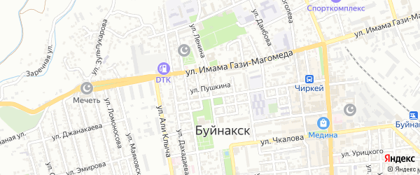 Улица Пушкина на карте Буйнакска с номерами домов