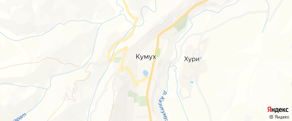 Карта села Кумуха в Дагестане с улицами и номерами домов