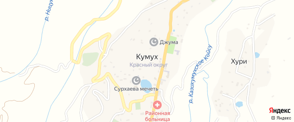 Улица М.Джабраилова на карте села Кумуха Дагестана с номерами домов