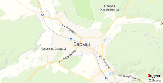 Карта Барыша с улицами и домами подробная. Показать со спутника номера домов онлайн