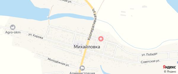 Кооперативная улица на карте села Михайловки Астраханской области с номерами домов