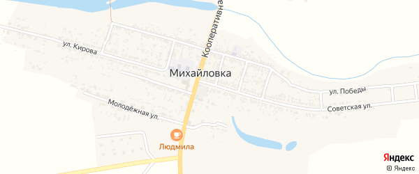 Речной переулок на карте села Михайловки Астраханской области с номерами домов