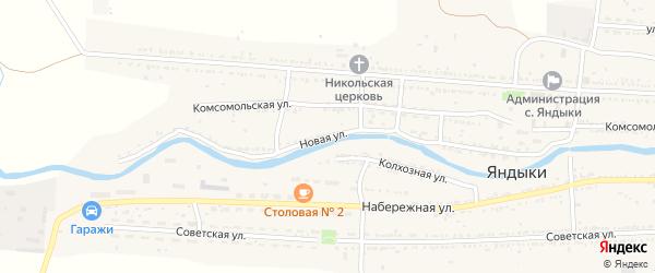 Новая улица на карте села Яндыки Астраханской области с номерами домов