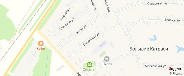 Солнечная улица на карте деревни Большие Катраси Чувашии с номерами домов
