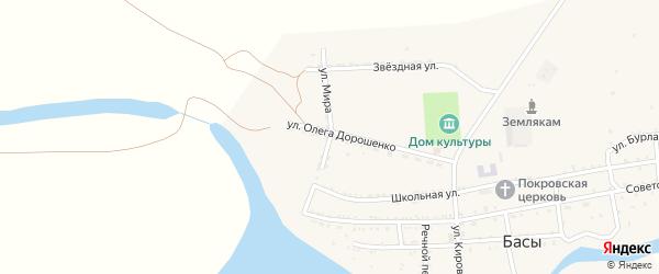Улица Мира на карте села Басы Астраханской области с номерами домов