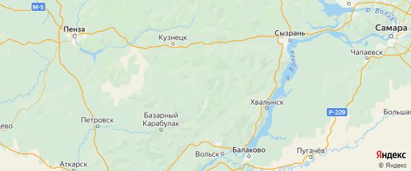 Карта Павловского района Ульяновской области с городами и населенными пунктами