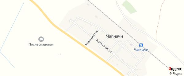 Узенький переулок на карте поселка Чапчачи Астраханской области с номерами домов