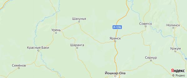 Карта Кикнурского района Кировской области с городами и населенными пунктами