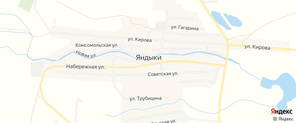 Карта села Яндыки в Астраханской области с улицами и номерами домов