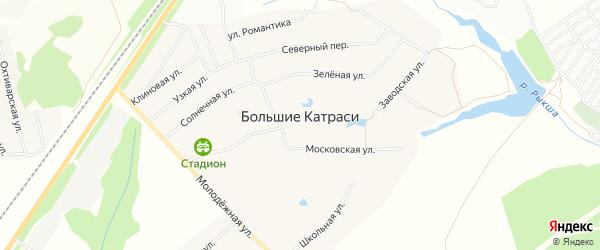 Карта деревни Большие Катраси в Чувашии с улицами и номерами домов