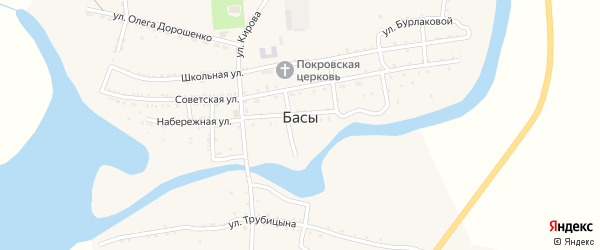 Речной 1-й переулок на карте села Басы Астраханской области с номерами домов