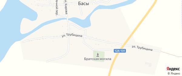 Улица Трубицына на карте села Басы Астраханской области с номерами домов