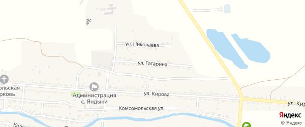 Улица Гагарина на карте села Яндыки Астраханской области с номерами домов