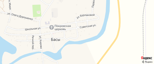 Почтовый переулок на карте села Басы Астраханской области с номерами домов
