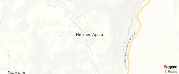 Карта села Нижнего Арш в Дагестане с улицами и номерами домов