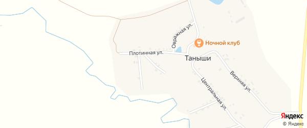 Зеленая улица на карте деревни Таныши Чувашии с номерами домов