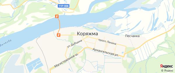 Карта Коряжмы с районами, улицами и номерами домов