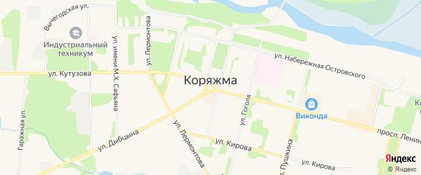 Карта садового некоммерческого товарищества Сады 7 города Коряжмы в Архангельской области с улицами и номерами домов