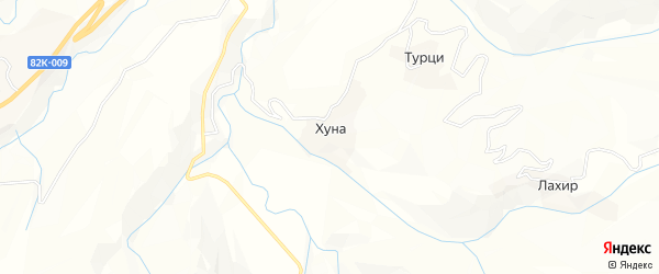Карта села Хуны в Дагестане с улицами и номерами домов