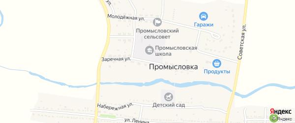 Заречная улица на карте села Промысловки Астраханской области с номерами домов