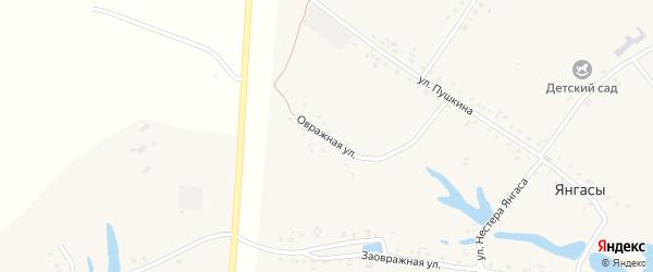 Овражная улица на карте деревни Янгасы с номерами домов
