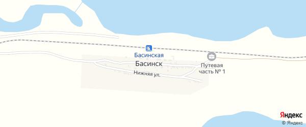 Железнодорожная улица на карте поселка Басинска Астраханской области с номерами домов