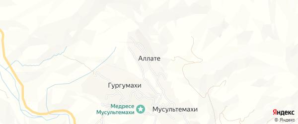 Карта хутора Аллате в Дагестане с улицами и номерами домов