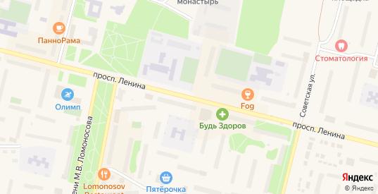 Проспект Ленина в Коряжме с номерами домов на карте. Спутник и схема онлайн