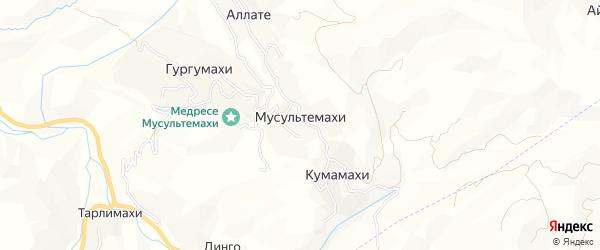 Карта села Мусультемахи в Дагестане с улицами и номерами домов