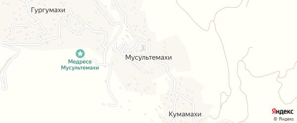 Школьная улица на карте села Мусультемахи Дагестана с номерами домов