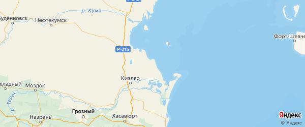 Карта Кизлярского района Республики Дагестана с городами и населенными пунктами