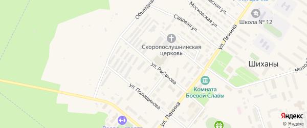 Улица Рыбакова на карте Шиханы с номерами домов