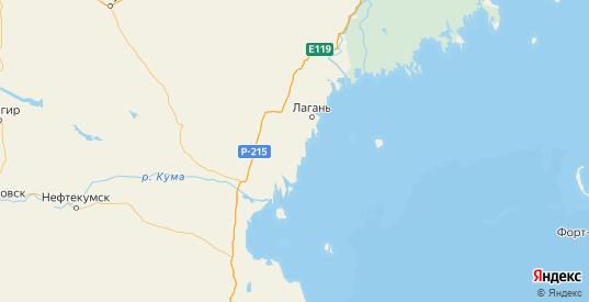 Карта Лаганского района республики Калмыкия с городами и населенными пунктами