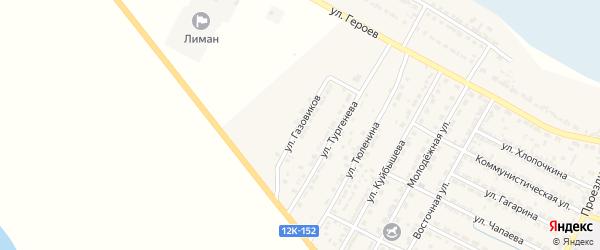 Улица Газовиков на карте поселка Лимана Астраханской области с номерами домов